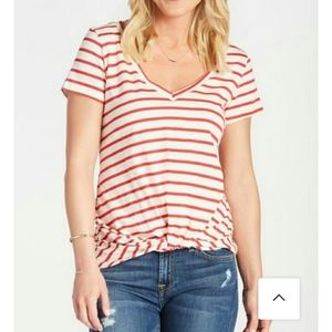 ALLISON JOY Striped V Neck Tuck Tee Top Small